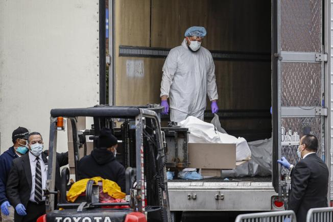 纽约市死亡病例激增,医疗人员用堆高机把死者遗体送进冷冻卡车冷藏。(美联社)