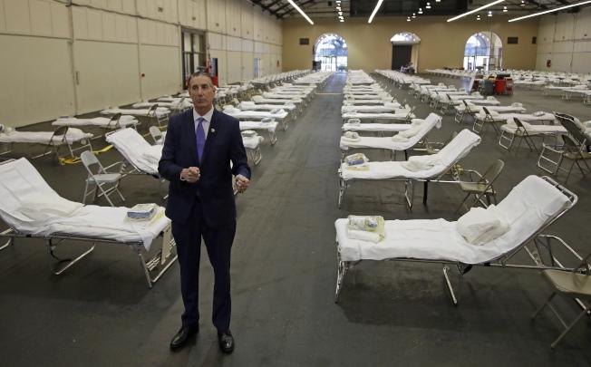 聖馬刁縣緊急醫療服務局局長庫斯曼希望這座方艙醫院永遠不需要開放使用。(美聯社)