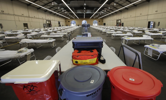現場設置250張病床和其它生活必須品。(美聯社)