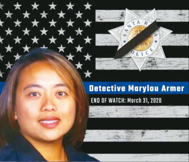 聖他路薩警局哀悼因感染新冠病毒而死亡的女警阿默。(聖他路薩警局提供)