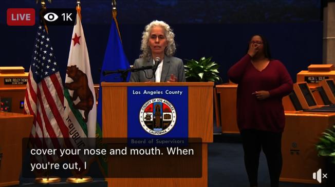 洛杉磯縣公共衛生局局長費若(Barbara Ferrer)(視頻截圖)