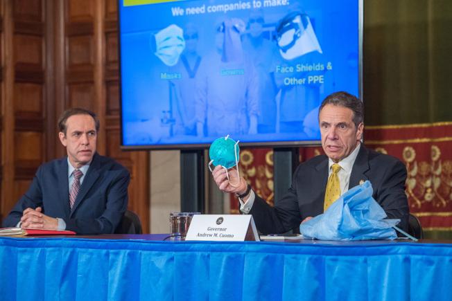葛謨宣布將簽署行政令,允許州府徵集州內私人機構擁有的可使用呼吸器和個人防護設備(PPE)分發給亟需幫助的醫院。(州長辦公室提供)