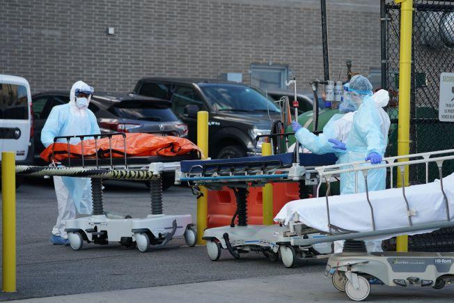 全美國和紐約州疫情都呈上升階段,紐約州死亡人數再創新高。圖為布魯克林一家醫院員工把死者遺體送進冷藏庫。(Getty Images)