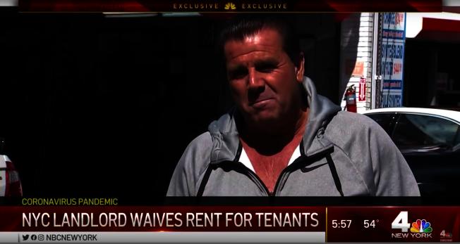 紐約布魯克林房東薩勒諾(Mario Salerno)表示,免收4月房租。圖/截自NBC New York YouTube頻道