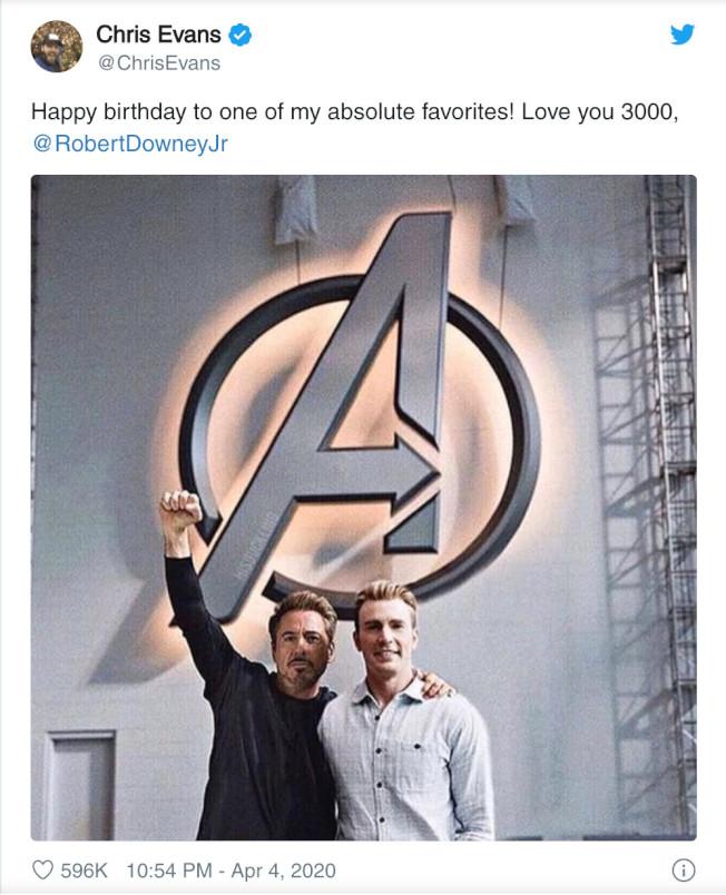 「美國隊長」克里斯伊凡祝賀「鋼鐵人」小勞勃道尼55歲生日快樂。圖/摘自推特