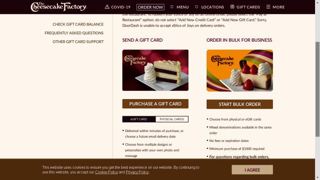 連鎖西餐廳Cheesecake Factory,發行的禮卡廣受消費者喜愛。(Cheesecake Factory網頁)
