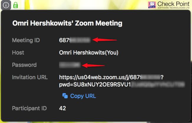 除了顯示使用者ID外,使用者在進入會議前也被要求輸入密碼,以提供會議足夠的安全性。圖/Check Point提供