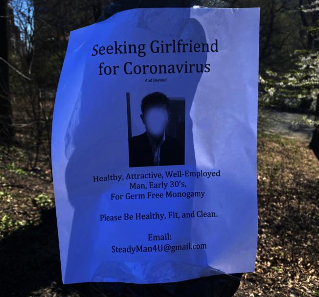 布拉德張貼在中央公園的傳單。(圖片取自臉書)