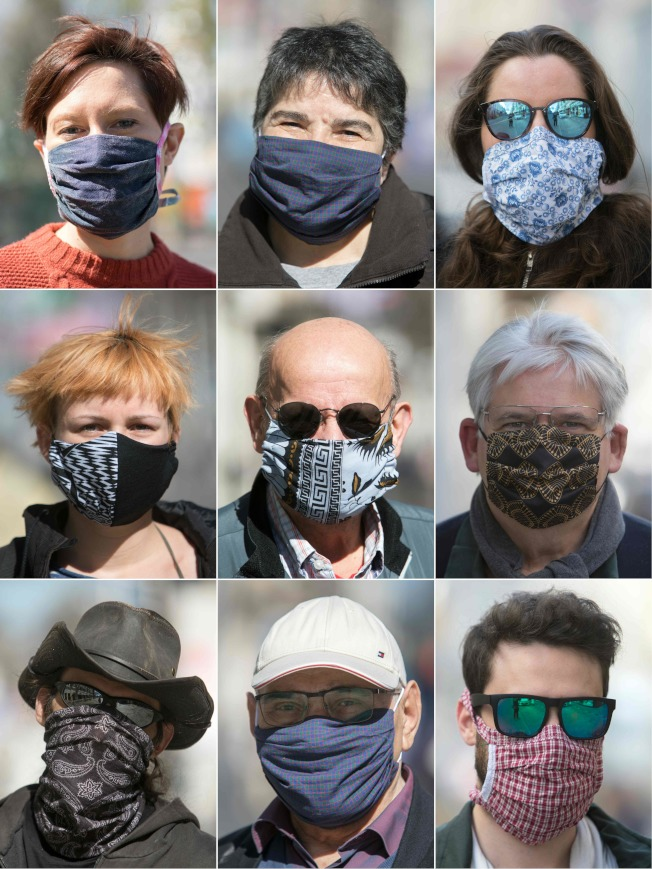新冠病毒疫情蔓延全世界,戴口罩以阻止病毒傳播成為防疫之先,人人都要戴上各式各樣的口罩。(美聯社)
