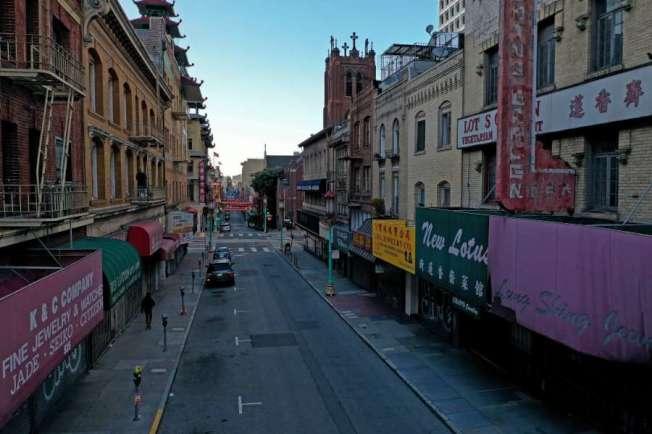 人人居家避疫,舊金山華埠空無一人。(美聯社)