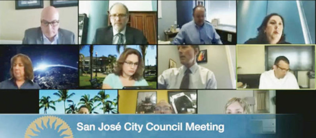聖荷西市議會7日討論「直接免除租金」的提案,截稿前仍未有定案,不過此案引發房東們強烈的不滿,圖為聖荷西市議會與市長開會畫面。(翻攝自聖荷西市議會)