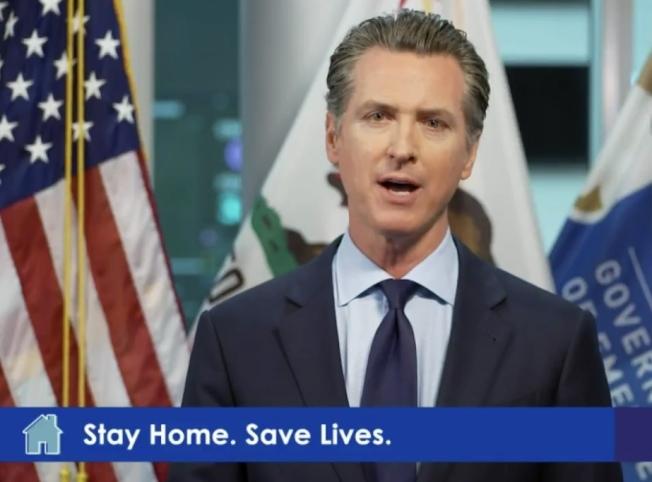 州長紐森在視訊記者會上稱,因加州居民遵守居家避疫令,他對加州疫情感樂觀。(記者李秀蘭截圖)