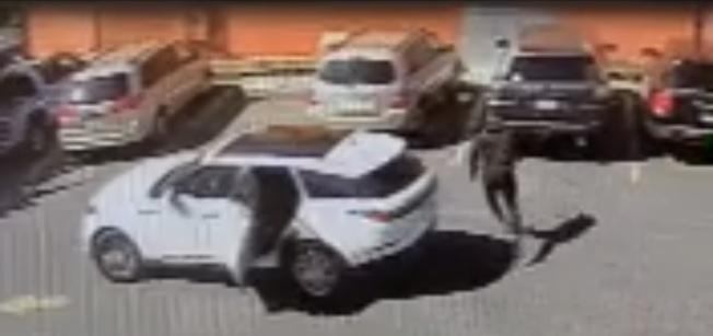 38--四天前肖化區海華超市停車場發生搶劫案,非裔嫌犯開車尾隨受害華婦,走到車旁搶走華婦的皮包。(取材自微信)
