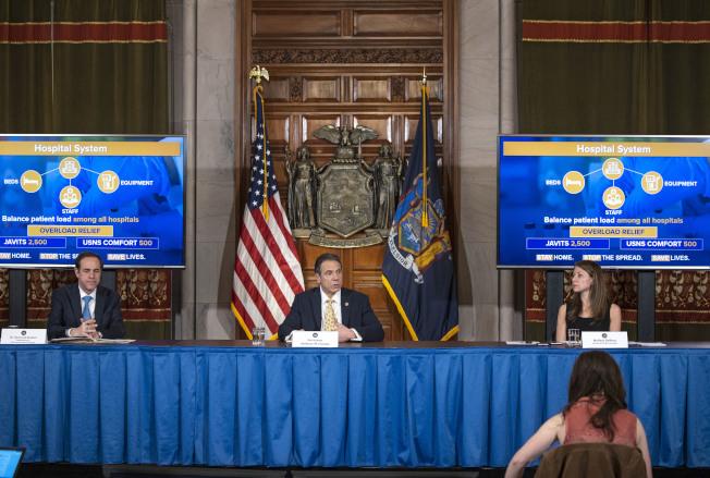 州長葛謨表示,全州新冠肺炎日新增死亡人數7日創下歷史新高,但其他指標仍然顯示紐約州疫情正在進入平台期。(州長辦公室提供)