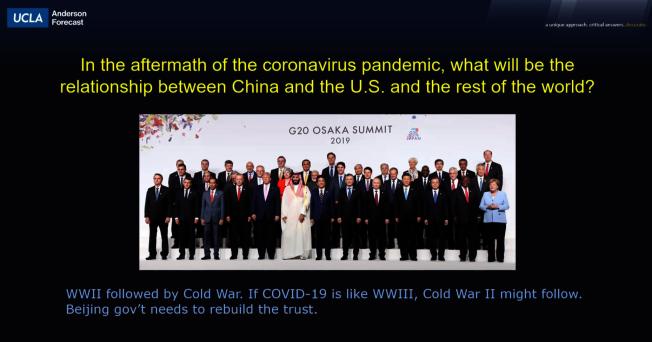 洛杉磯加大(UCLA)安德森經濟預測中心指出,新冠肺炎在全球爆發如二戰,冷戰恐再次發生。(UCLA提供)