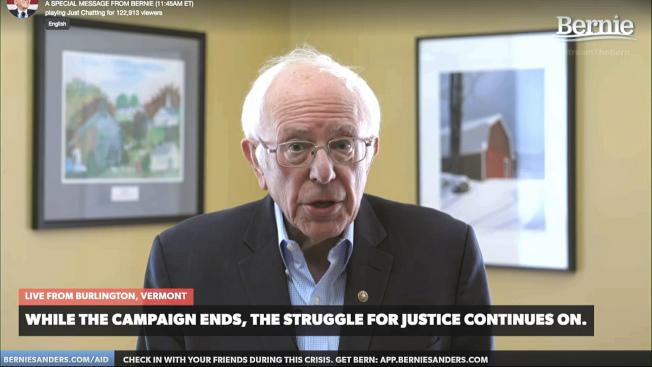 桑德斯說,他雖停止競選活動,可是並未退出初選,將盡可能爭取黨代表,影響民主黨。(美聯社)
