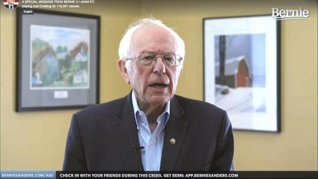 參選人桑德斯桑參議員8日透過視訊,宣布停止競選活動,等於宣告前副總統白登成為準民主黨總統提名人。(美聯社)