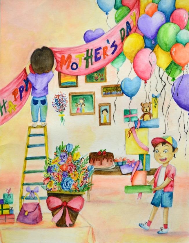 Emma Fang作品成功塑造出慶祝的氛圍,包括四處妝點的氣球、照片、蛋糕及禮物等,增添許多有趣溫馨的元素,獲評審頒予青少年組第一名。(世界日報翻攝)