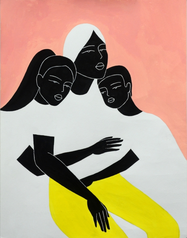 Sophie Liu作品的視覺語言成熟,表達「媽媽」命題的象徵手法特別突出,獲評審頒予高童組第一名。(世界日報翻攝)