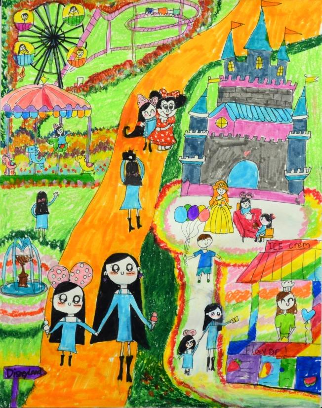 Lusia Gu作品因為構圖豐富、用色大膽卻平衡,成功表現歡樂甜蜜及敘事熱忱,獲得評審頒予幼童組第一名。(世界日報翻攝)