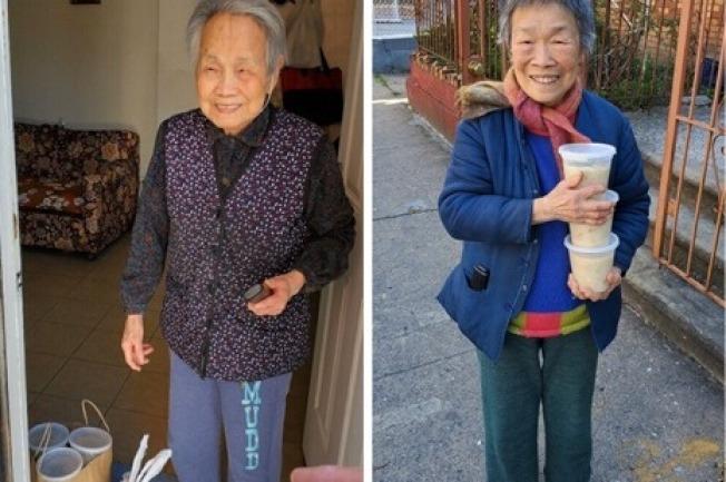 耆老們收到餐點的快樂表情。(取自gofundme網站,由華策會提供)