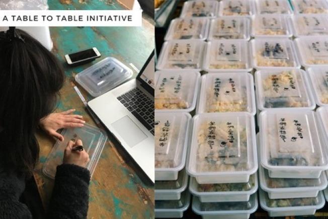 每次送餐前,張茵和蔡慕林都會在前200個飯盒上,以中文寫上打氣加油的話。(取自gofundme網站)