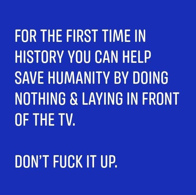 社群媒體流傳一句話:「史上第一次,我們什麼都不用做,躺在家裡看電視就可以拯救人類!別搞砸了!」(取自Reddit)