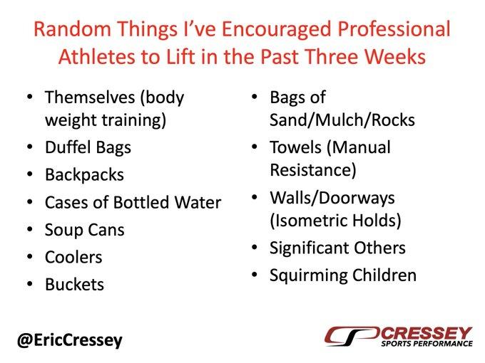 克雷西列出幾項垂手可得的物品加以利用,就連精力充沛的小孩也在建議之一。(取材自推特)