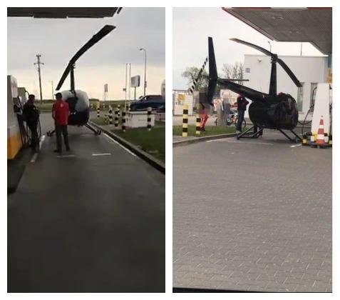 這名機師將降落的直升機推進加油站。一臉錯愕的民眾看著他若無其事地加油、付錢、拿收據後飛走。取材自臉書