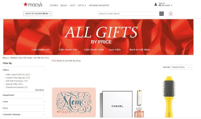 梅西百貨(Macy's)推出母親節禮物選購專區。(官網截圖)