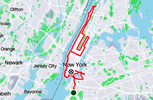 茹聰跑完全程61哩的路線。(實時健身應用截圖)