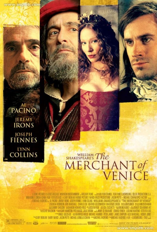 No. 4 好萊塢巨星阿帕西諾(Al Pacino)在莎翁名劇改編的同名電影「威尼斯商人」中飾演放貴利的猶太商。