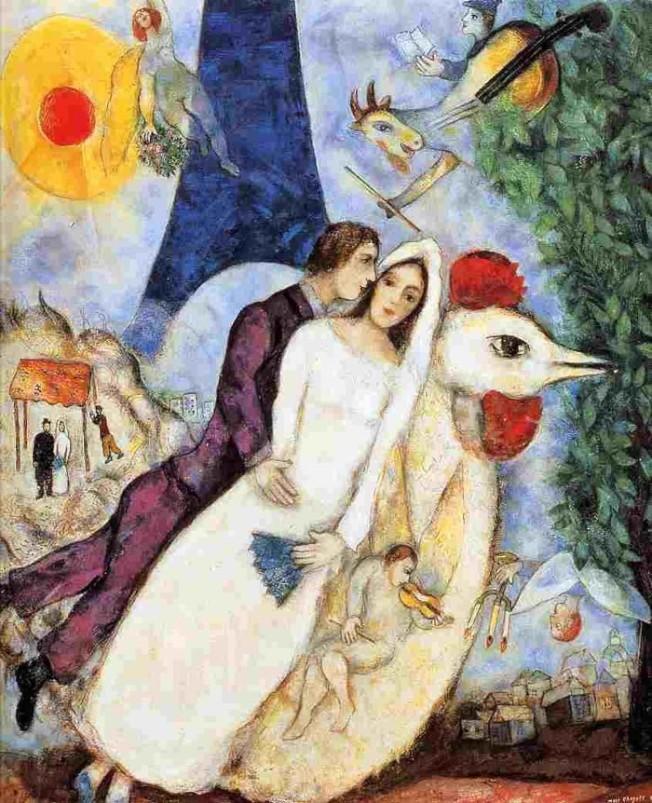 No. 8 夏卡爾的畫有詩有愛,有喜悅有傷悲,洋溢濃厚的鄉愁,敘述出猶太人的民俗生活。圖為他的〈飛躍艾菲爾鐵塔的情侶〉。