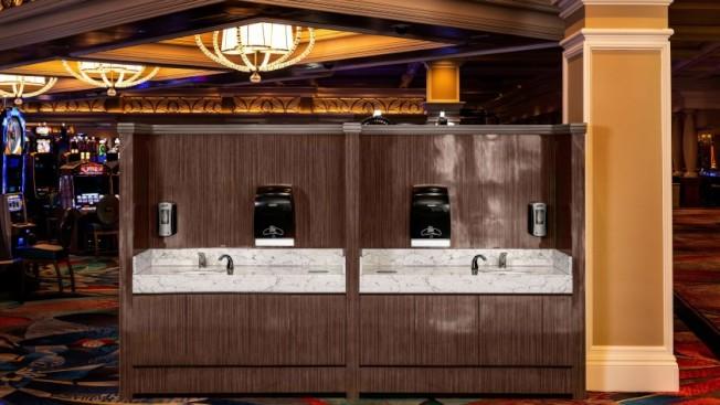 米高梅賭場內部設立洗手台,鼓勵客人多洗手。(米高梅集團)