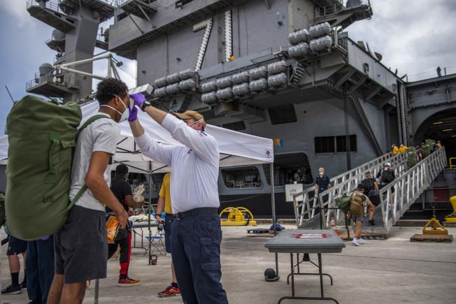 停靠在關島的羅斯福號航母,五名水兵兩度採檢呈陰性後又復陽。(Getty Images)