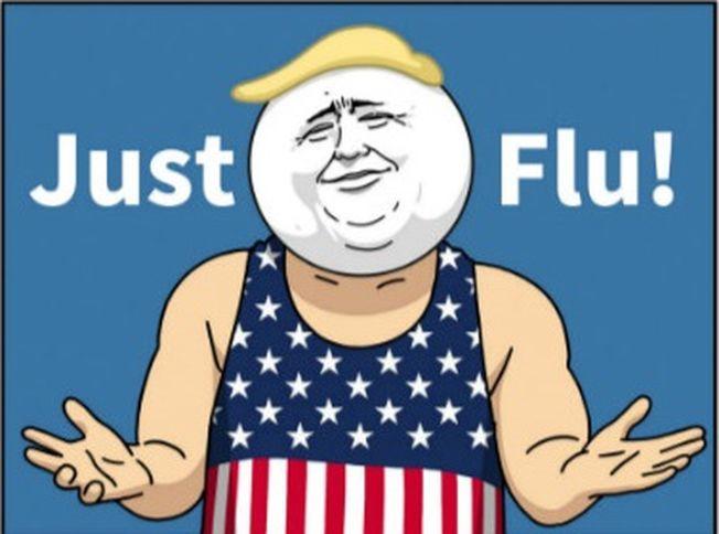 漫畫中,著裝星條旗男雙手一攤說:「Just Flu(只是流感)!」似諷刺川普。(取材自推特)