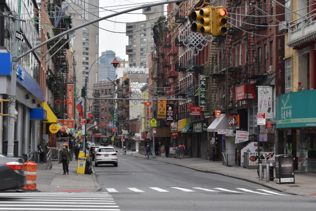 昔日熱鬧的紐約市曼哈頓華埠,如今相當冷清。(記者顏嘉瑩/攝影)