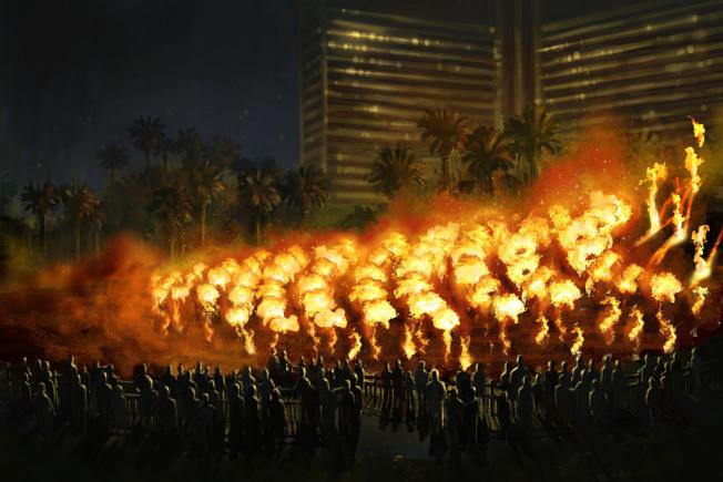 拉斯維加斯The Mirage酒店壯觀的火山爆發秀。(路透資料照片)