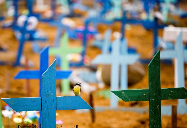 在歐美富裕國家紛紛復工之際,新冠疫情在窮國卻開始擴散。圖為巴西一處公墓新埋著新冠病逝者。(美聯社)