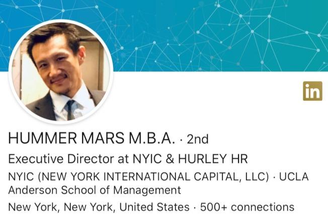馬穆戈以Hummer Mars這一名字在領英網的個人頁面。(截自領英網頁)