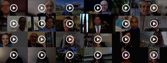 上百名議員、官員、校友和畢業生親友錄視頻表達祝福塔夫茲畢業生。(截自塔夫茲線上畢業典禮官網)