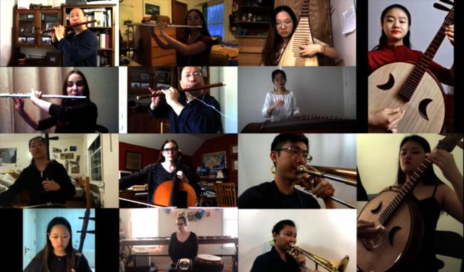 巴德學院美中學生,遠程合奏「康定情歌」。(校方提供)