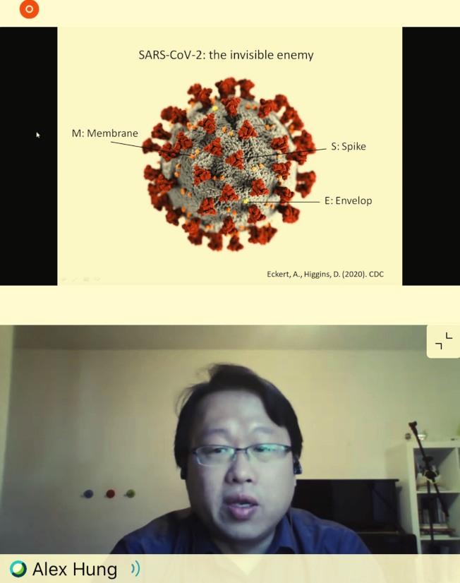 洪克璿博士分享新冠肺炎檢驗與診斷的最新發展。(橙僑中心提供)