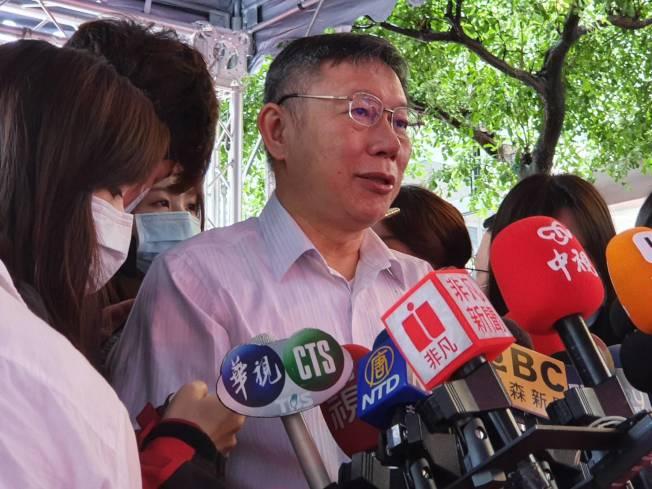 台北市長柯文哲23日參加台北市南區扶輪社捐血車捐贈典禮時受訪。(記者楊正海/攝影)