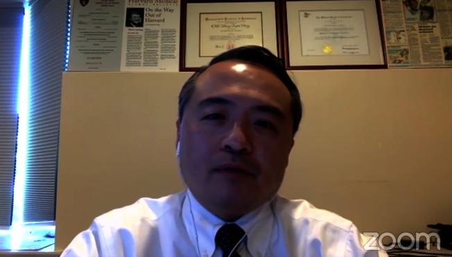 王智弘討論台灣防疫經驗。(視訊會議截圖)