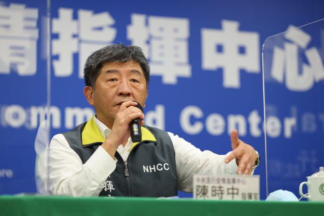 陳時中記者會上每天重複「台灣社區很安全」。(圖:指揮中心提供)