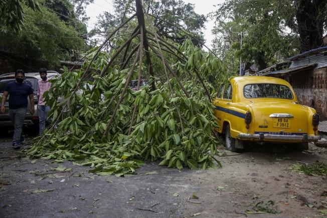 熱帶氣旋安芬重創印度,路上隨處可見樹木倒塌。美聯社
