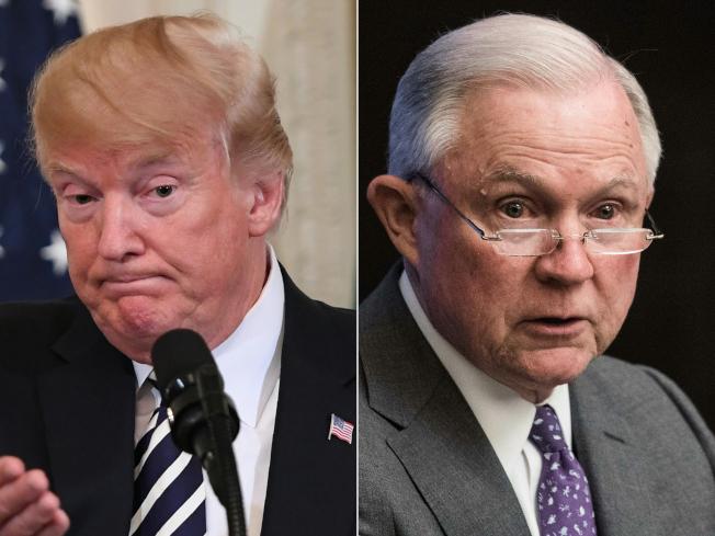 因迴避通俄調查而得罪川普總統(左)的前司法部長塞辛斯(右),在長期真對川普的攻擊噤聲後,終於推文反擊。(Getty Images)