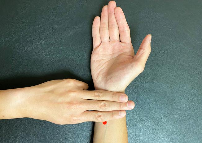 內關穴,位於腕橫紋上2寸。(圖:嘉義長庚提供)