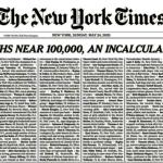 全美新冠死亡數逼近10萬 紐時頭版刊出整版訃聞哀悼